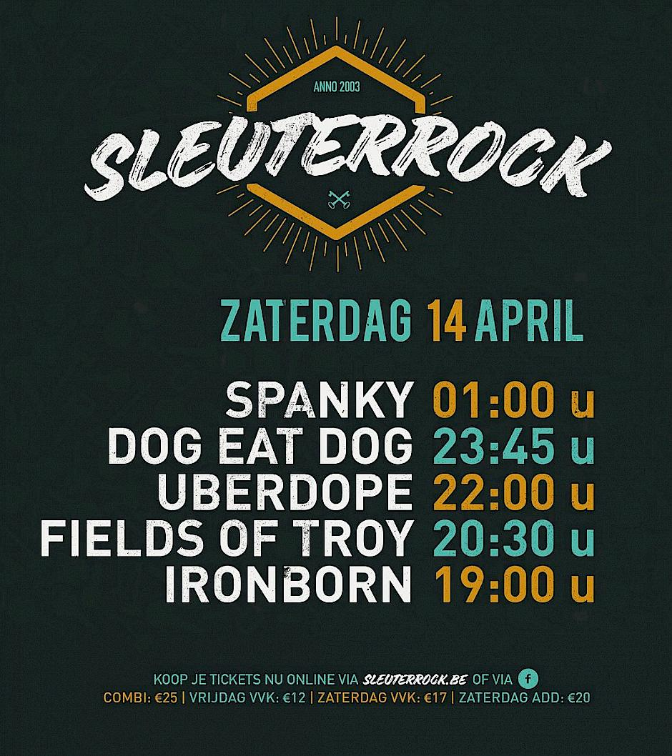 Sleuterrock 2018 time table